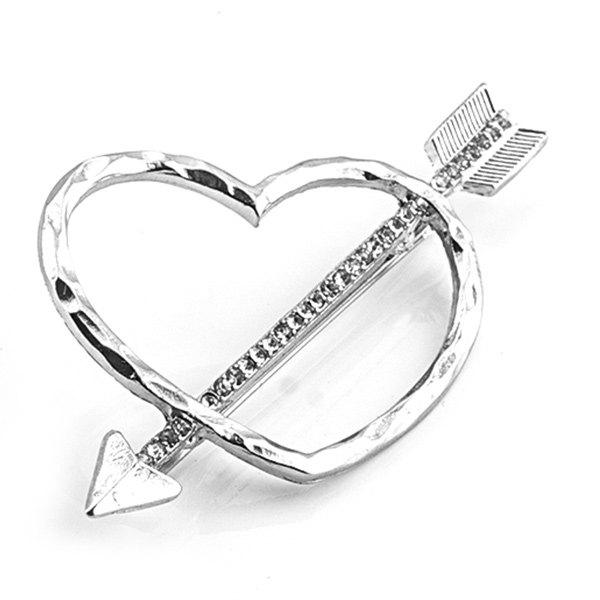 Cute Heart Shape Hollow Out Arrow Mark Rhinestone Barrette For Women