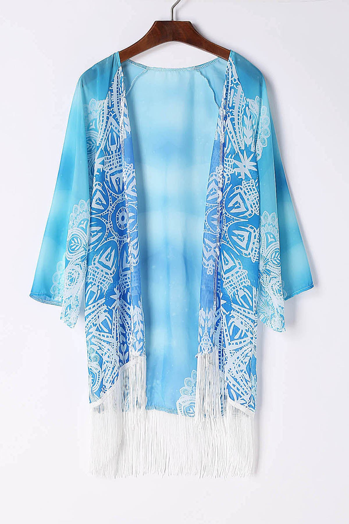 Stylish Collarless 3/4 Sleeve Fringe Design Chiffon Women's Kimono Blouse - LAKE BLUE L