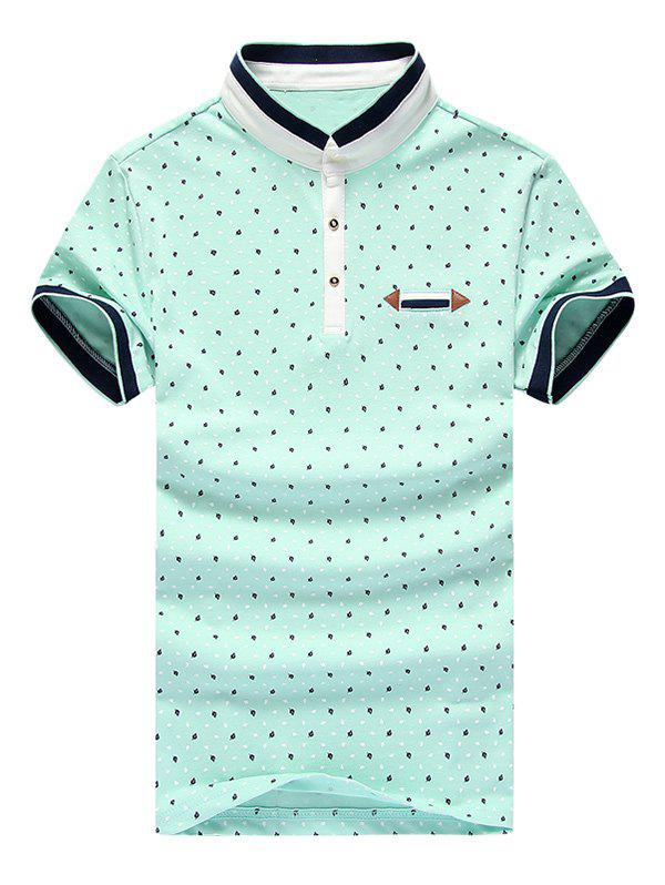 Leaves Printed Stand Collar Short Sleeve Splicing Men's Polo T-Shirt - LIGHT GREEN 2XL