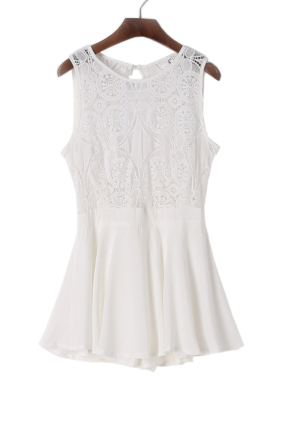 Chic Round Neck Sleeveless Hollow Out Backless Women's Romper - WHITE S