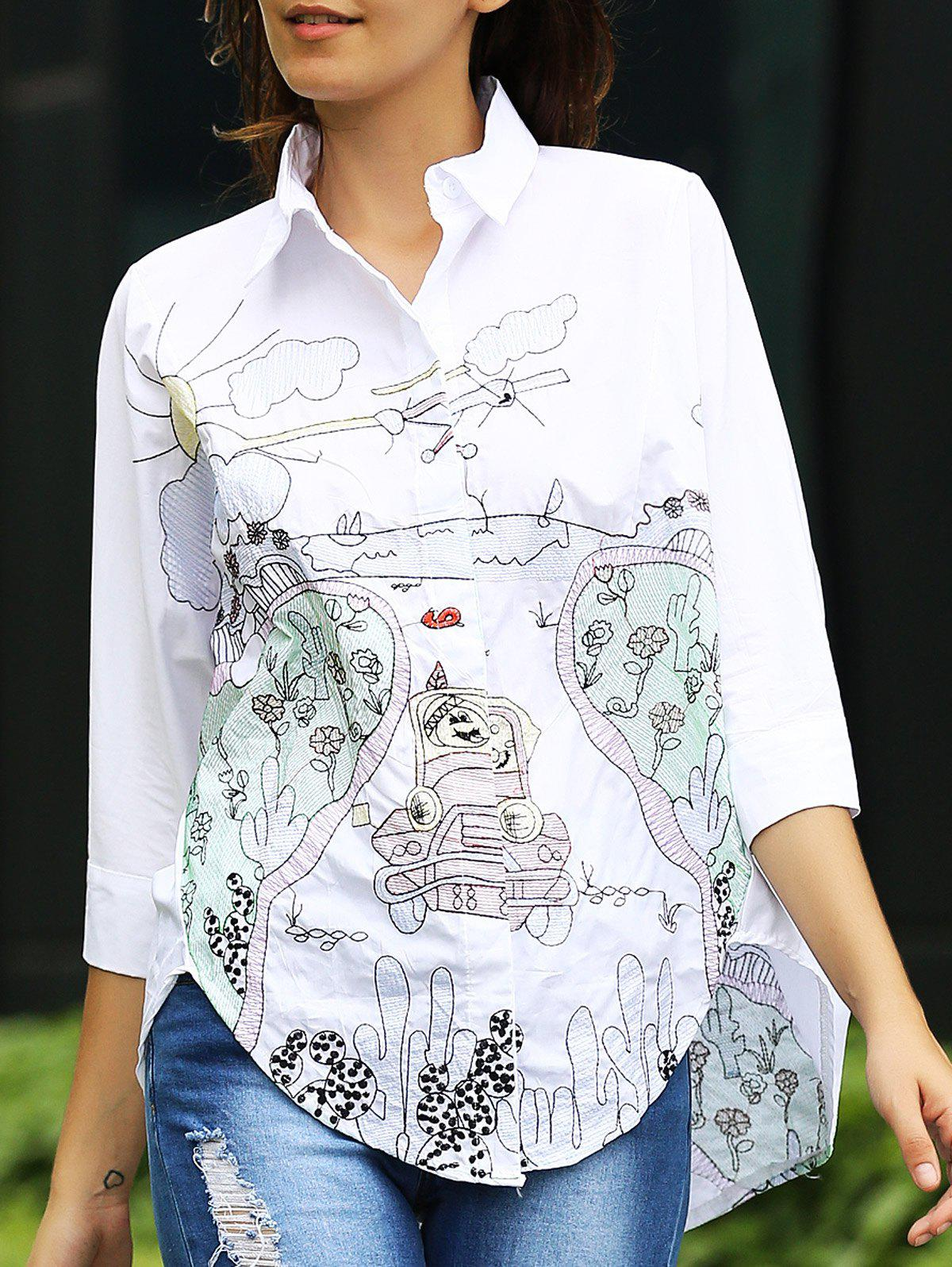 Trendy Women's 3/4 Sleeve Embroidered Cartoon Pattern Shirt