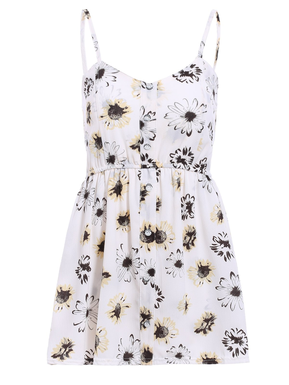 Stylish Women's Strappy Floral Print Romper - WHITE ONE SIZE(FIT SIZE XS TO M)