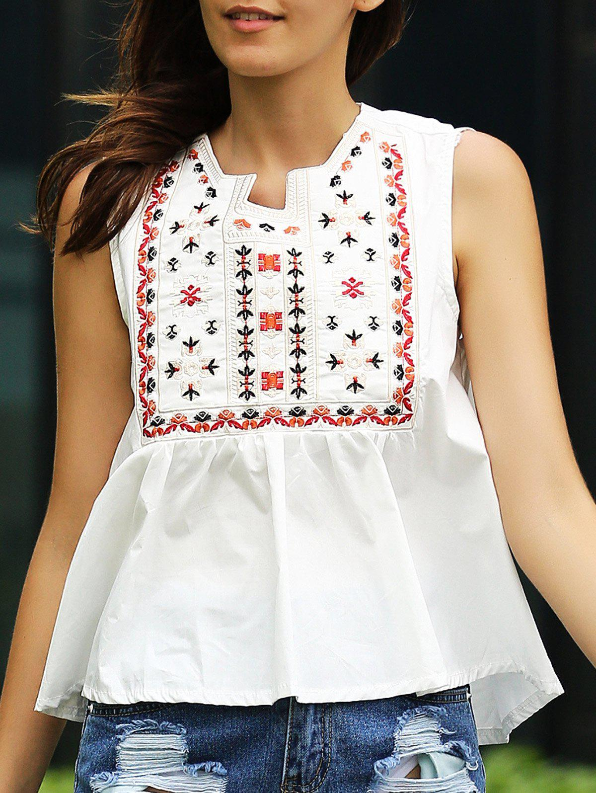 Ethnic Style Embroidered Loose Fitting Women's Tank Top - WHITE ONE SIZE(FIT SIZE XS TO M)