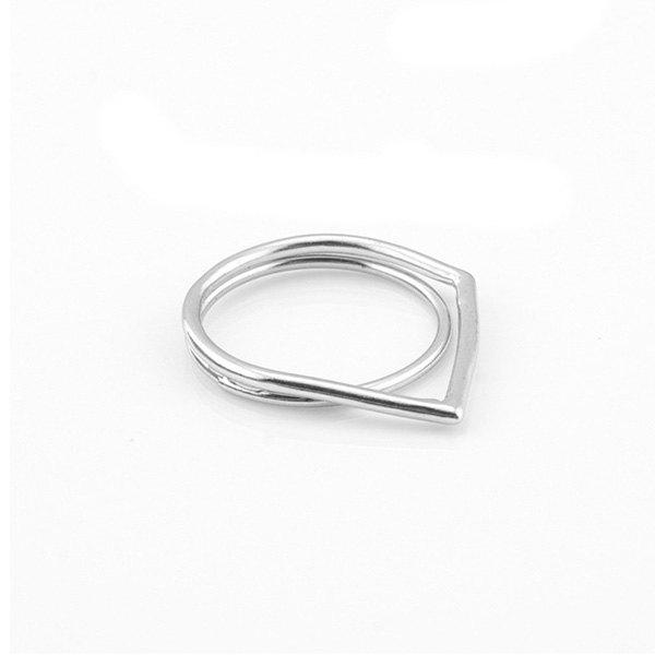 Simple Solid Color Multilayer Geometric Ring For Women