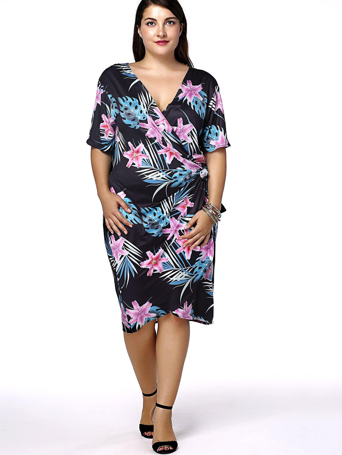Fashionable Women's Slimming V-Neck Floral Print Plus Size Dress - BLACK 4XL