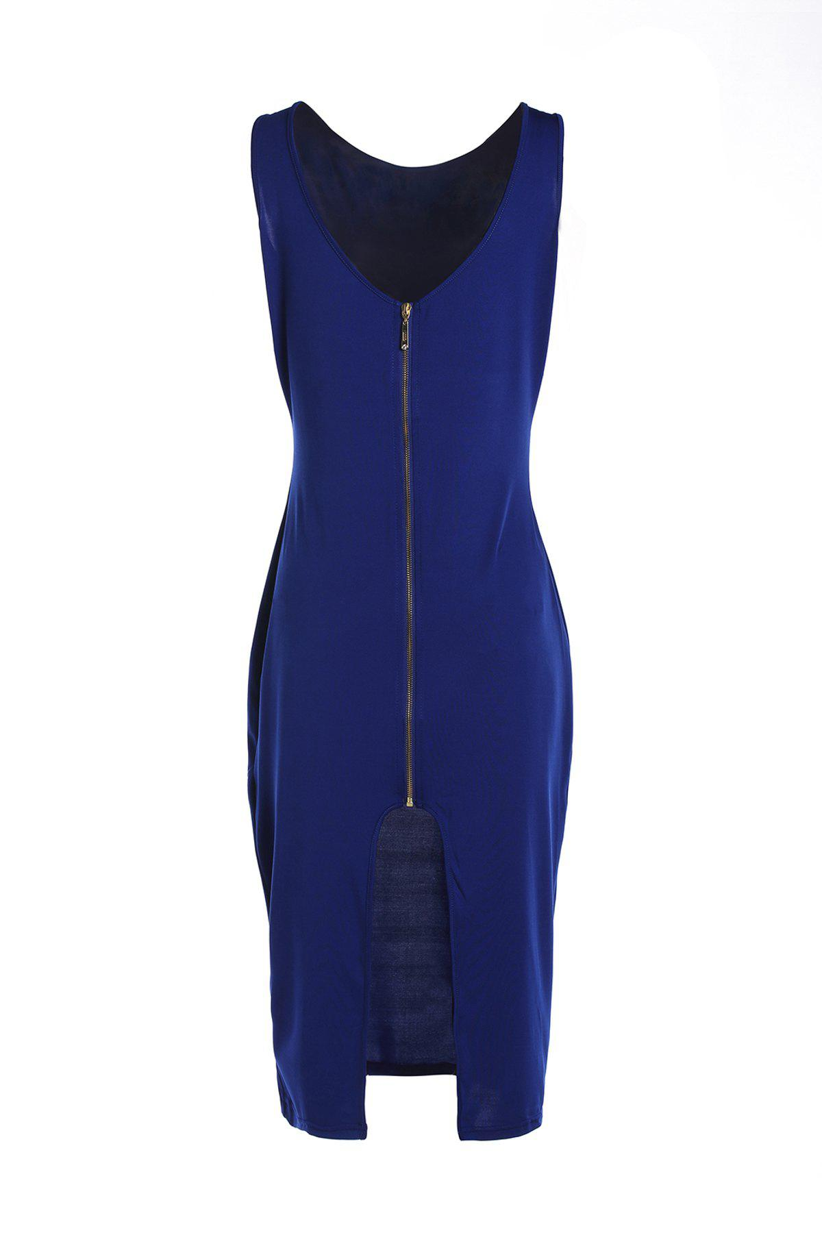 Sexy V-Neck Sleeveless Slit Zippered Bodycon Women's Dress - BLUE ONE SIZE(FIT SIZE XS TO M)