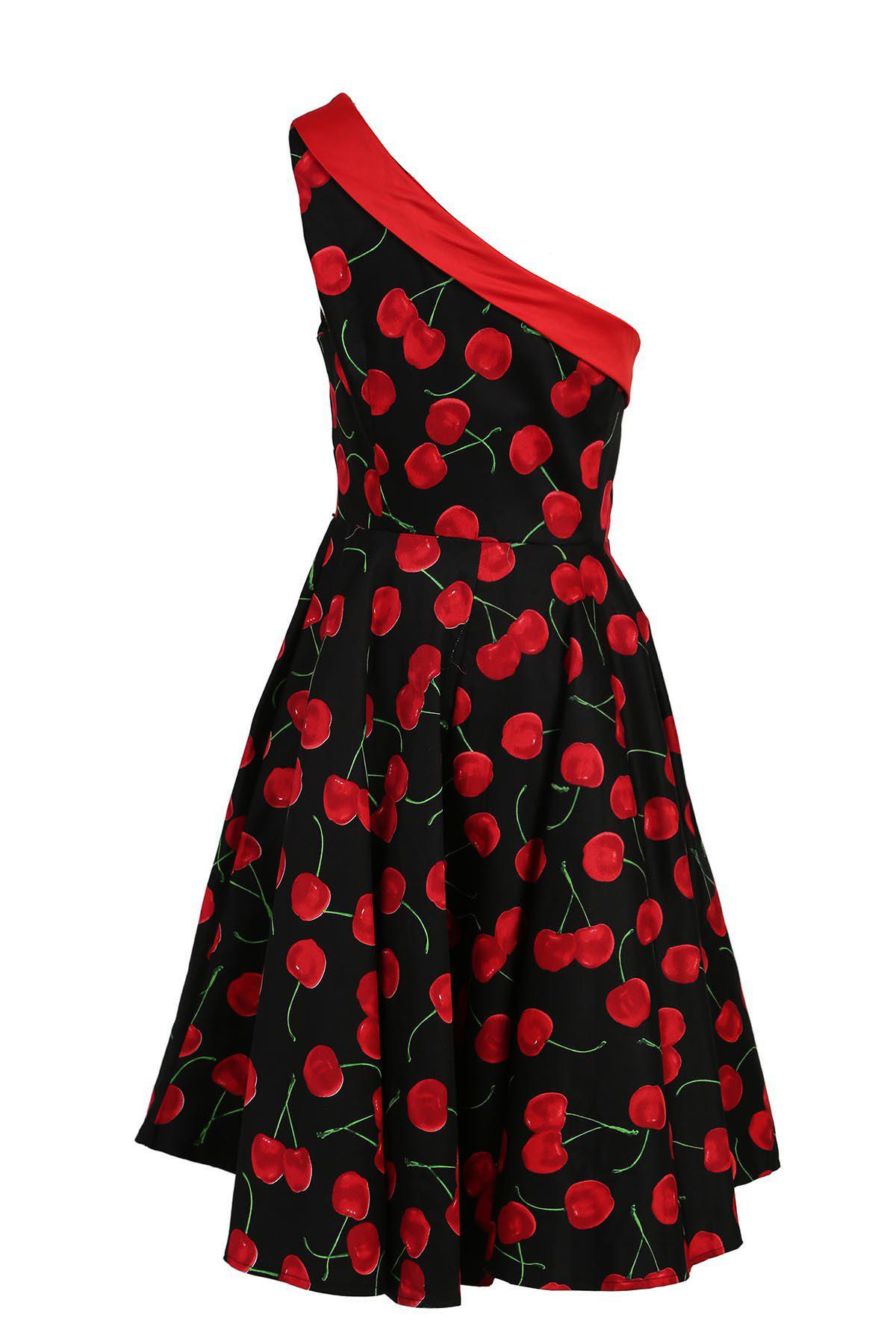 Vintage One-Shoulder Sleeveless Cherry Printed Women's Flare Dress - CERISE M