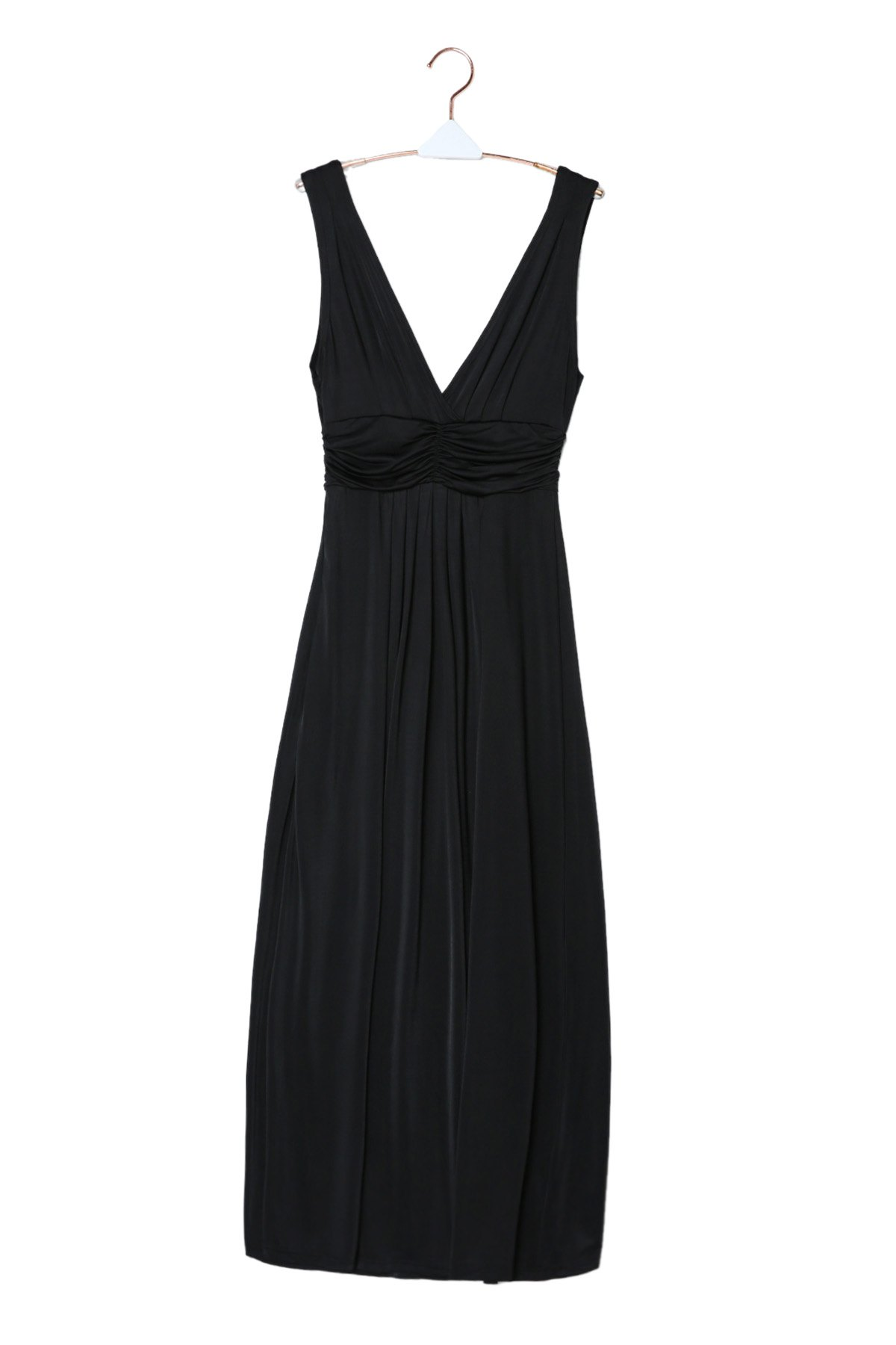 Sexy Plunging Neck Sleeveless Pure Color Womens Maxi Dress