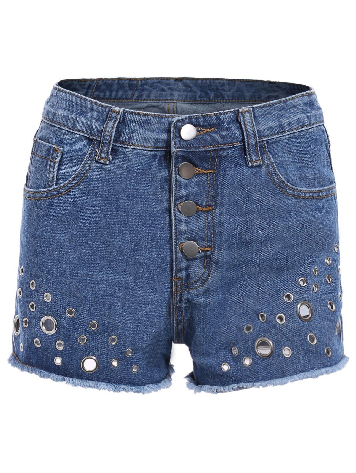 Trendy Women's Mid Waist Rivet Denim Shorts - DENIM BLUE ONE SIZE(FIT SIZE XS TO M)