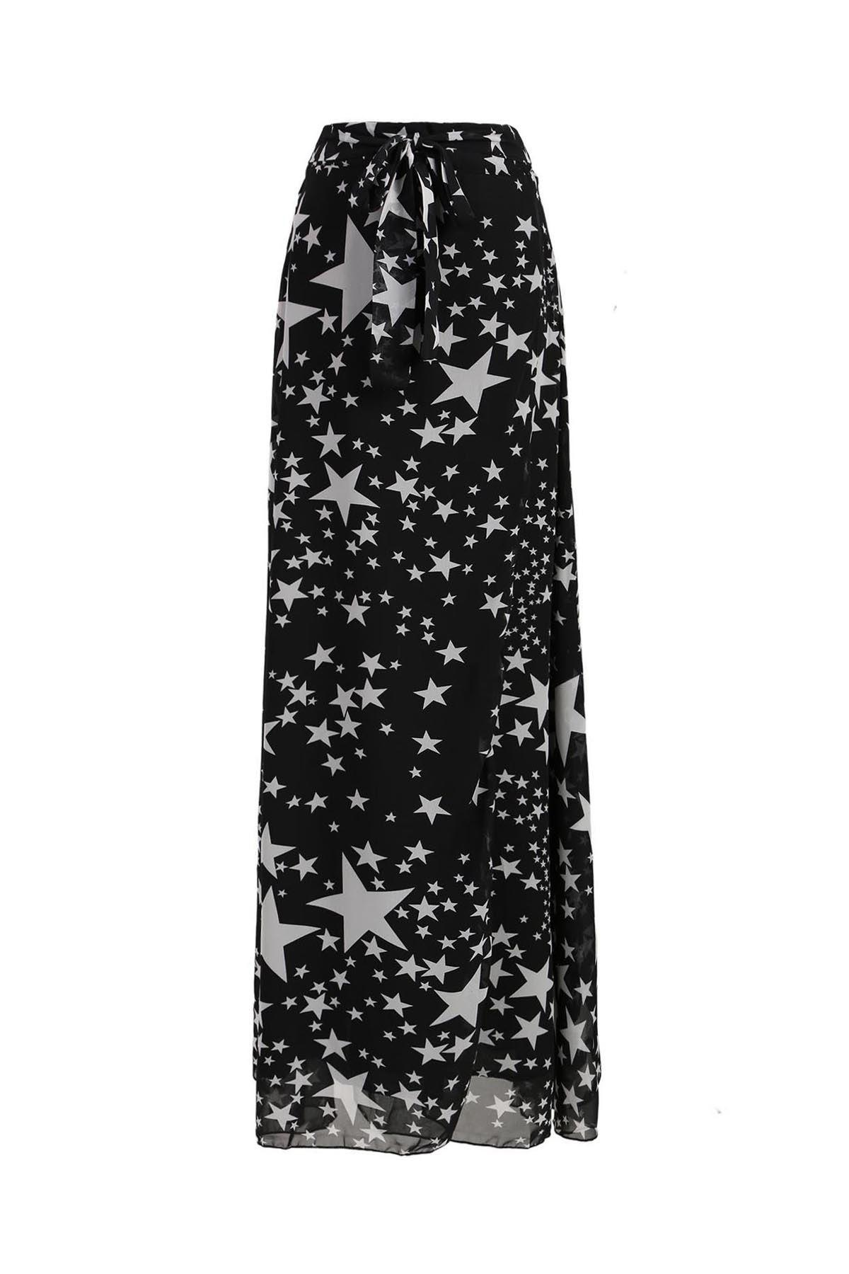 Alluring Women's Stars Print High Slit Skirt - BLACK M