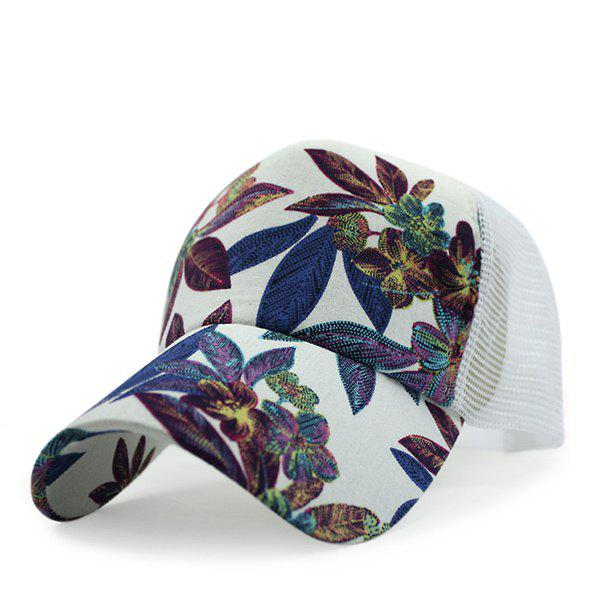 Chic Leaves Pattern Sun-Resistant Mesh Women's White Baseball Cap - WHITE