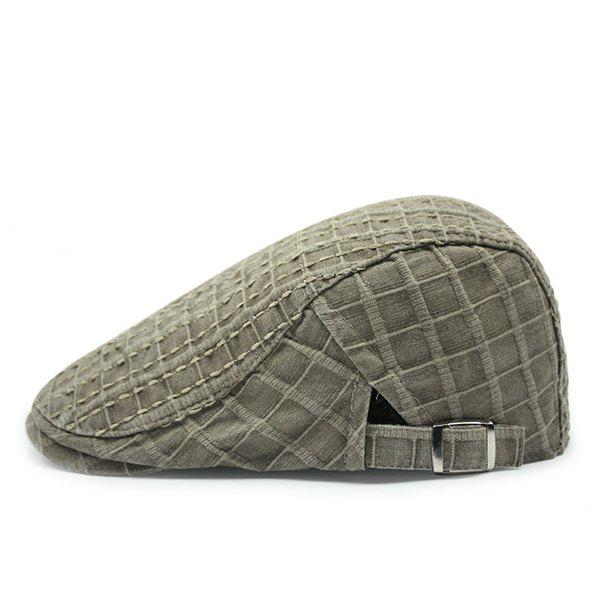 Fashion Checkered Shape Brief Style Sun-Resistant Cabbie Hat - KHAKI