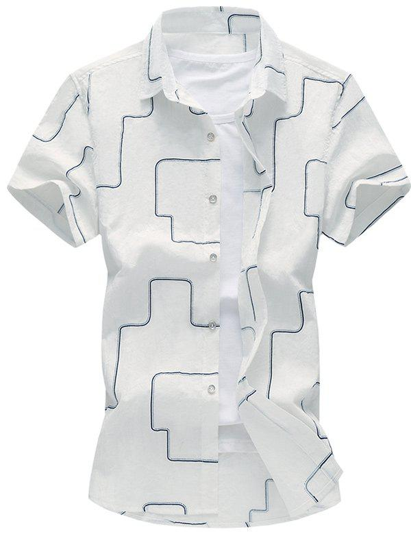 Geometric Linellae Print Turn-Down Collar Short Sleeve Plus Size Men's Shirt - WHITE 2XL