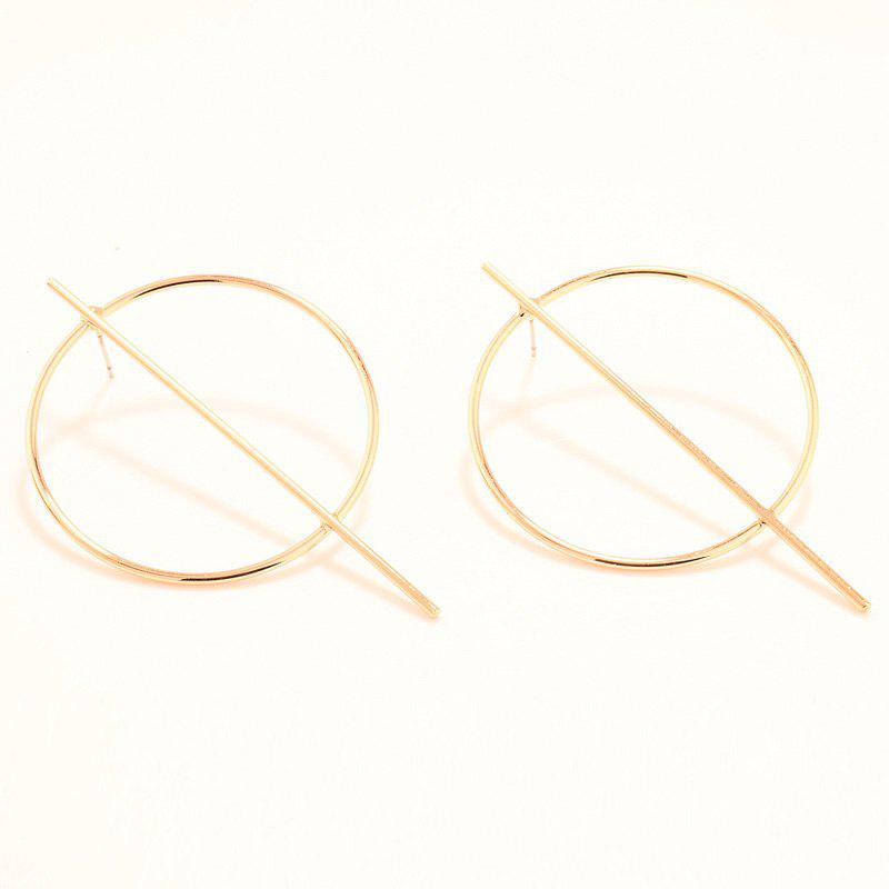 Pair of Simple Solid Color Stick Circle Earrings For Women