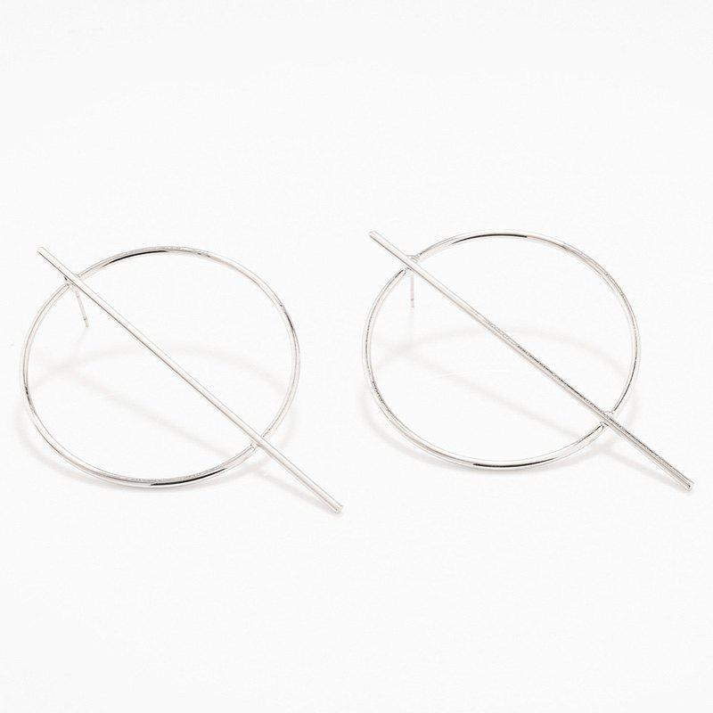 Pair of Circle Stick EarringsJewelry<br><br><br>Color: SILVER