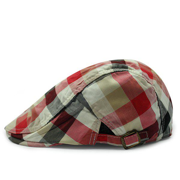 Fashion Multicolor Checkered Shape Brief Style Sun-Resistant Beret - RED