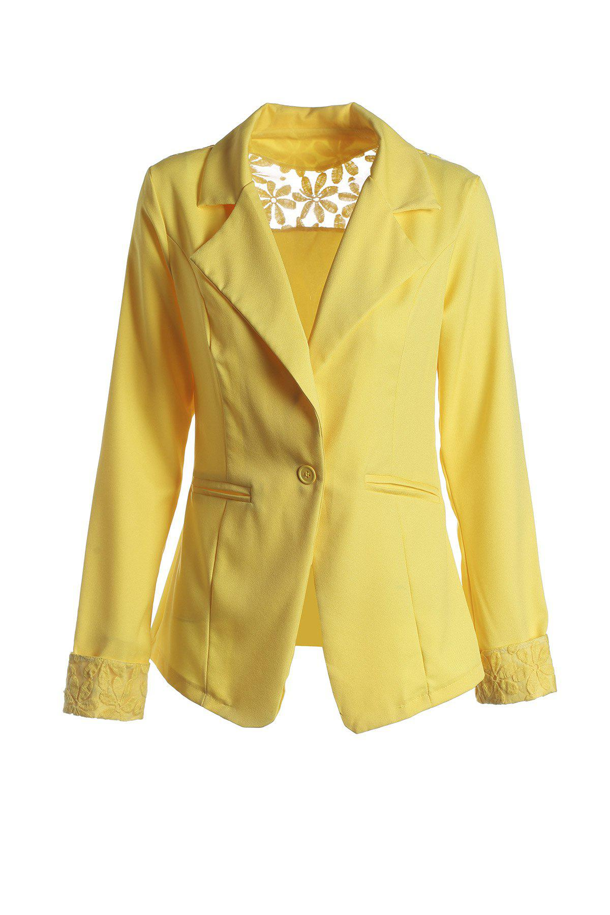 Stylish Lapel Long Sleeve Hollow Out Slimming Women's Blazer - YELLOW L
