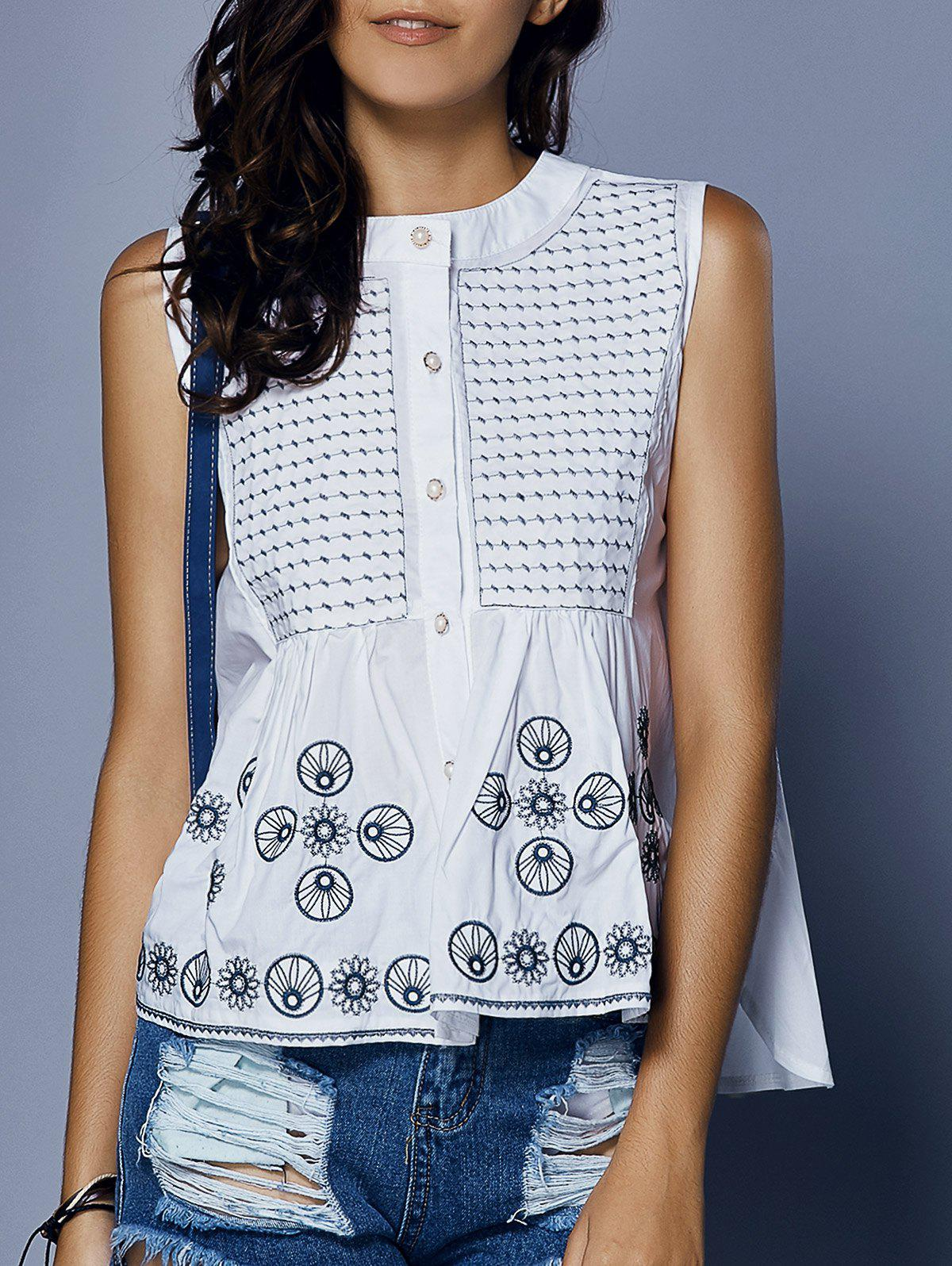 Chic Round Neck Loose-Fitted Embroidery Print Button Women's Tank Top - WHITE ONE SIZE(FIT SIZE XS TO M)