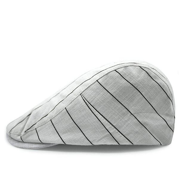 Fashion Stripe Pattern Britain Gentleman Style Sun-Resistant Outdoor Golf Beret - WHITE