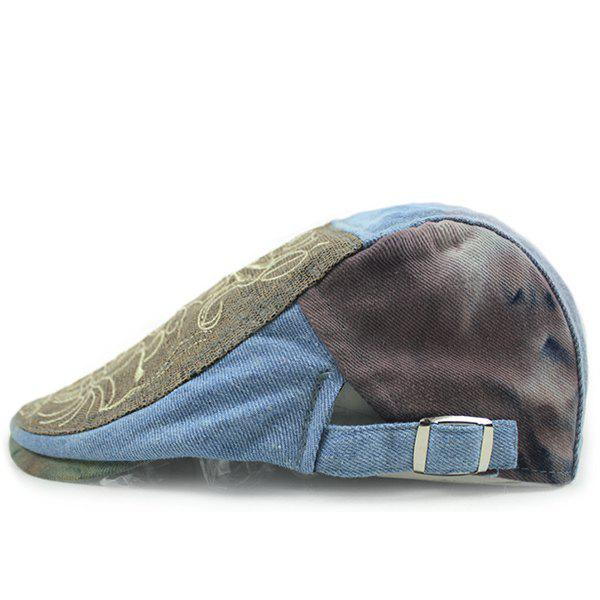 Fashion Embroidery Abstract Pattern Sun-Resistant Outdoor Denim Fabric Beret - LIGHT BLUE