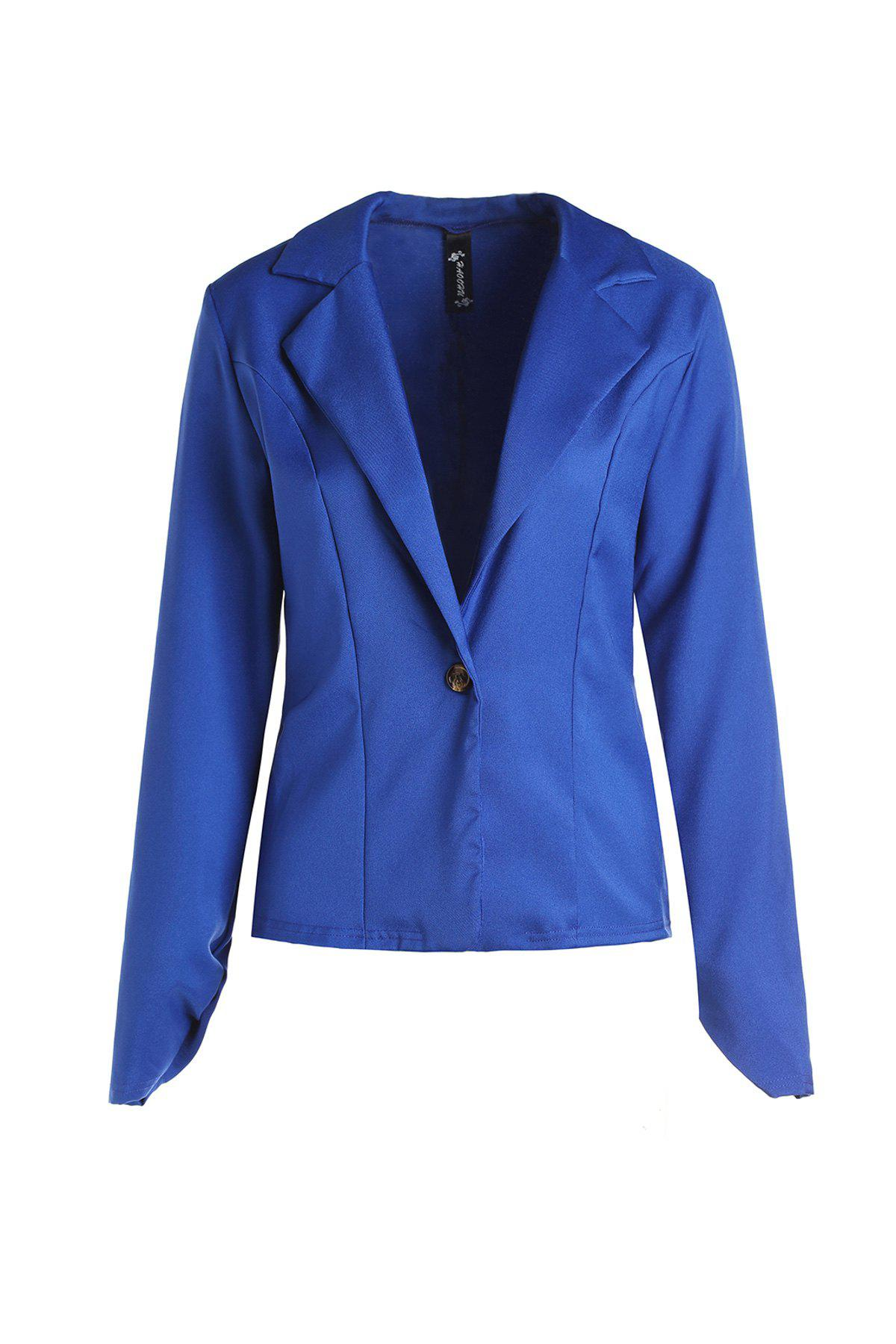 Stylish Lapel Long Sleeve Solid Color Slimming Women's Blazer - BLUE S