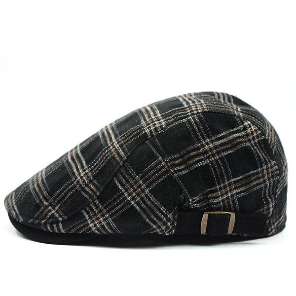 Fashion Plaid Pattern Sun-Resistant Outdoor Beret - BLACK