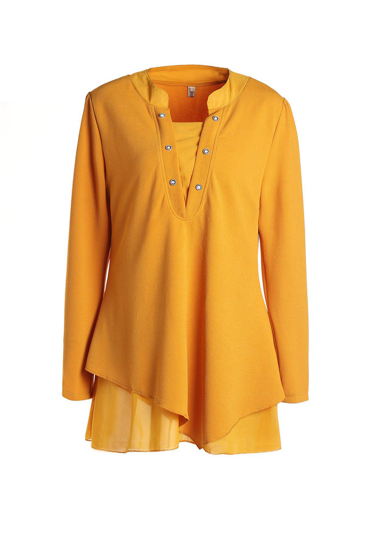 Graceful Long Sleeve Round Collar Women's Red Blouse - YELLOW L
