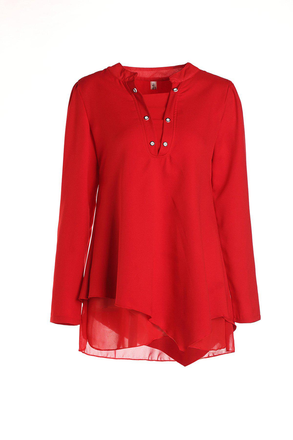 Red Blouse Graceful à manches longues col rond Femmes - Rouge M
