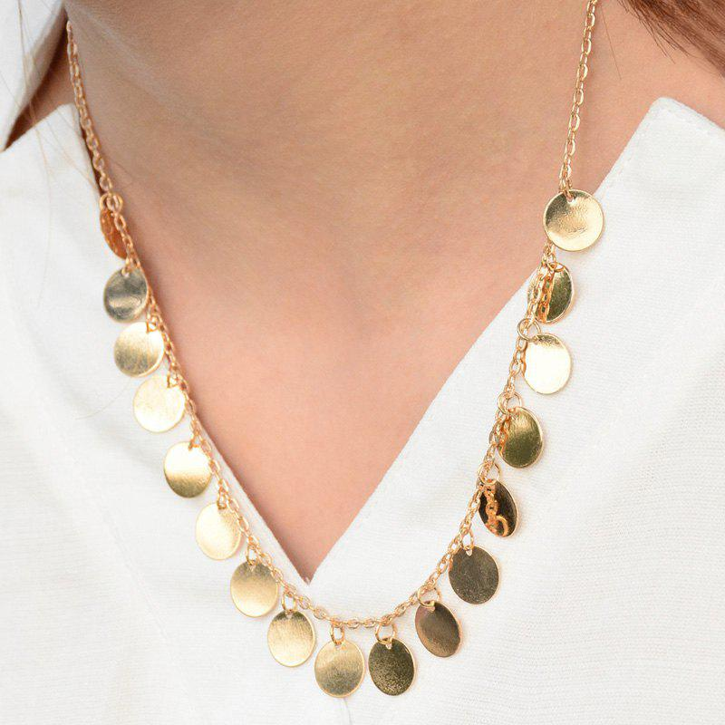 Alloy Round Tassel Necklace - GOLDEN