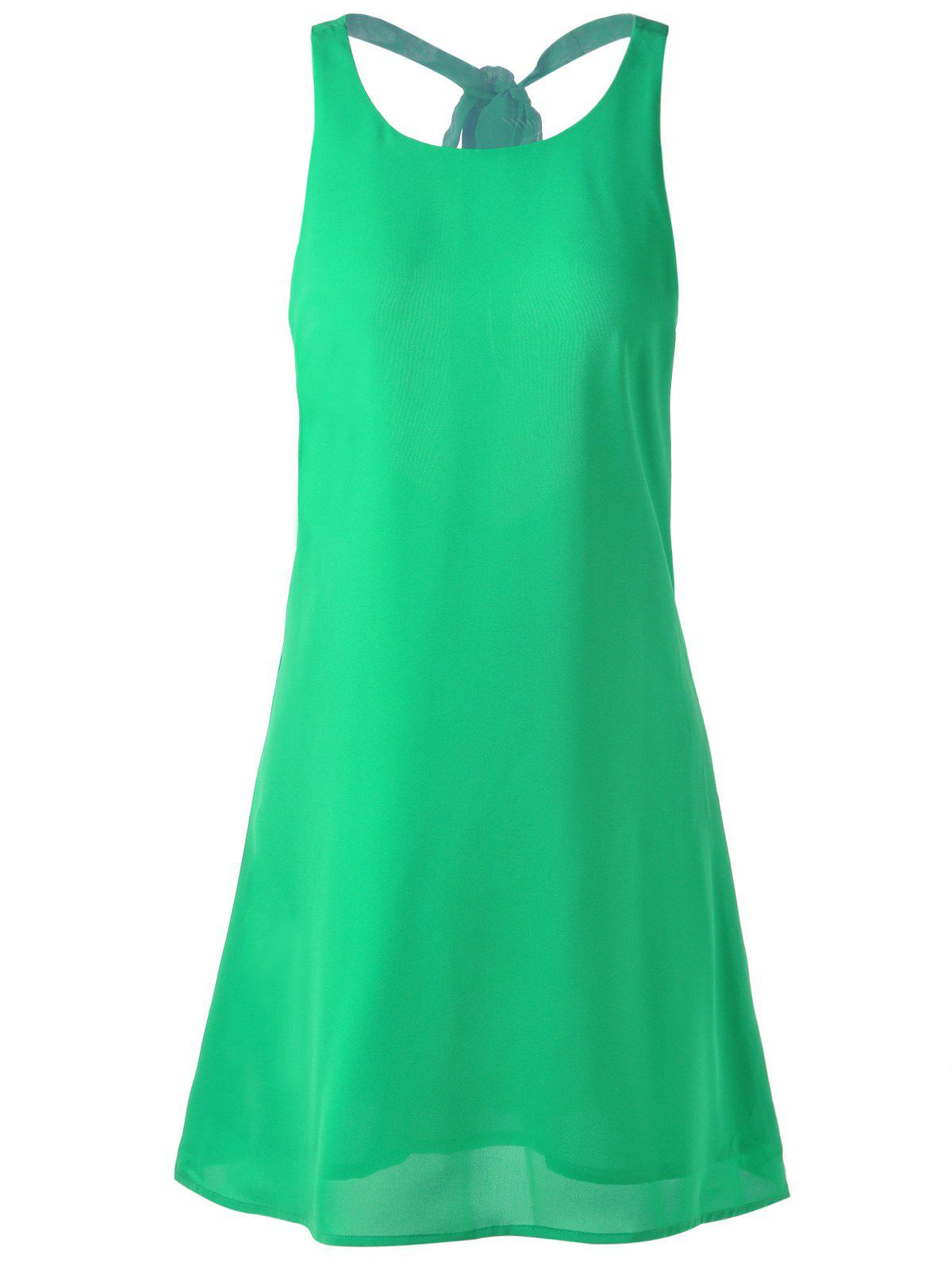 Fashionable Round Collar Back Out Bow Dress For Woman - GRASS GREEN S