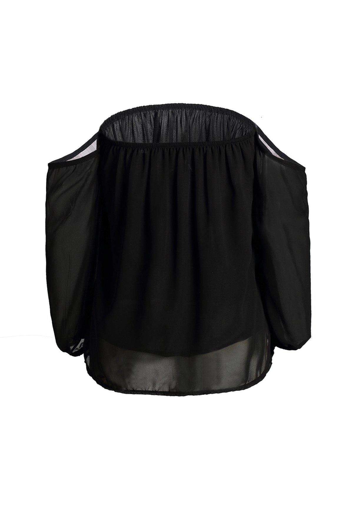Fashionable Women's Off-The-Shoulder Solid Color Loose-Fitting Blouse - BLACK S