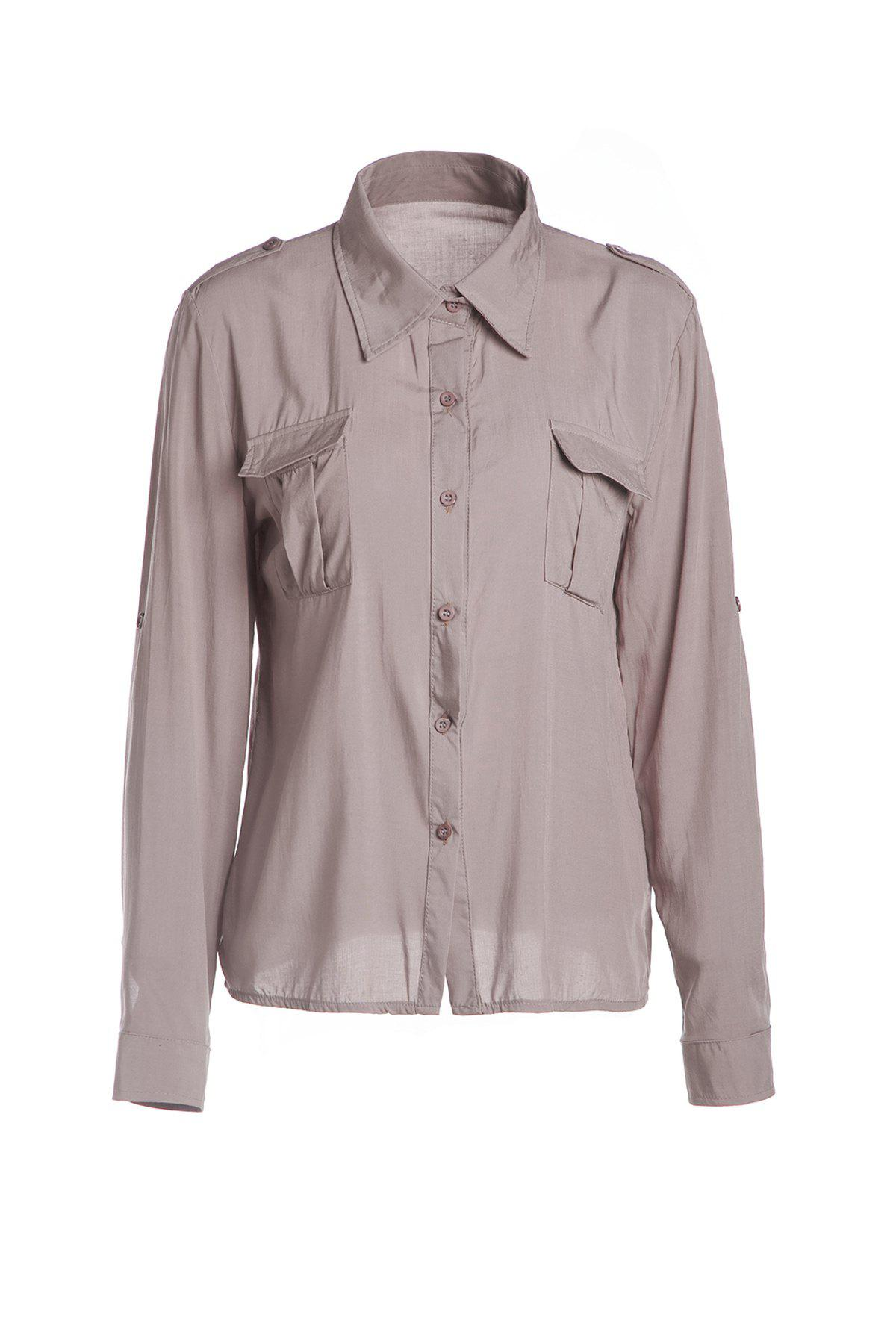 Fashionable Pocket Design Single-Breasted Long Sleeve Shirt For WomenWomen<br><br><br>Size: XL<br>Color: KHAKI