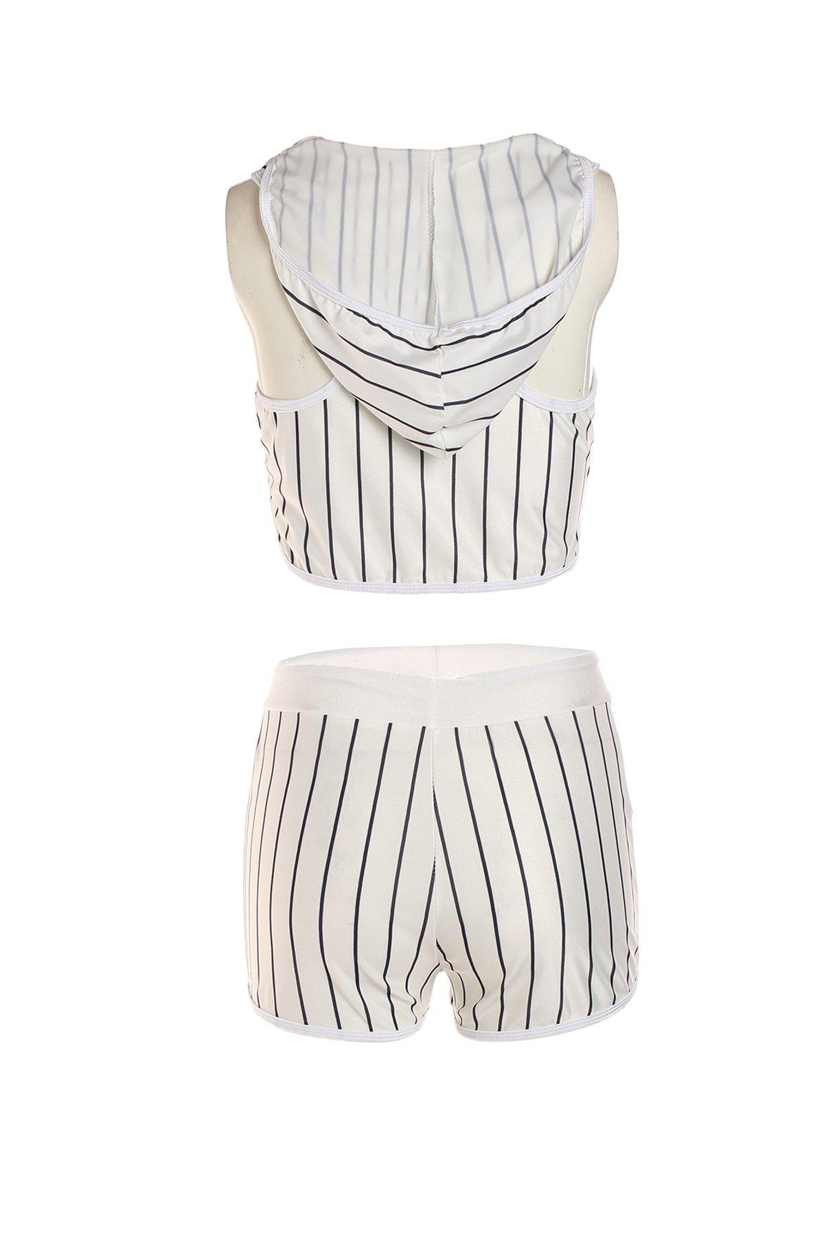 Sexy Striped Hooded Short Tank Top+ Shorts Sport Suit For Women - WHITE L