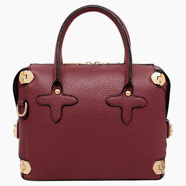 Elegant Metallic and Solid Color Design Women's Tote Bag - WINE RED