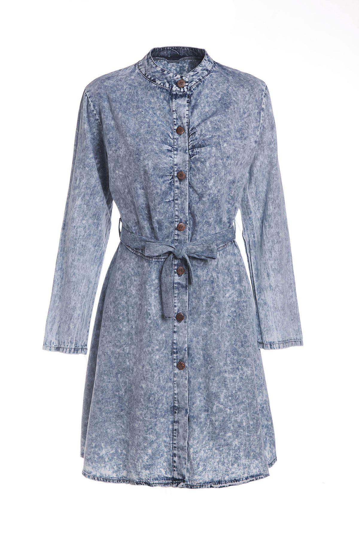 Stylish Self-Tie Long Sleeve Stand-Up Collar Women's Denim Dress - AS THE PICTURE M