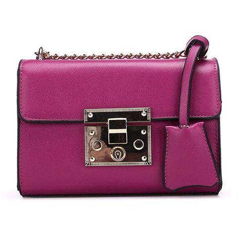 Graceful Hasp and Chains Design Women's Crossbody Bag - ROSE