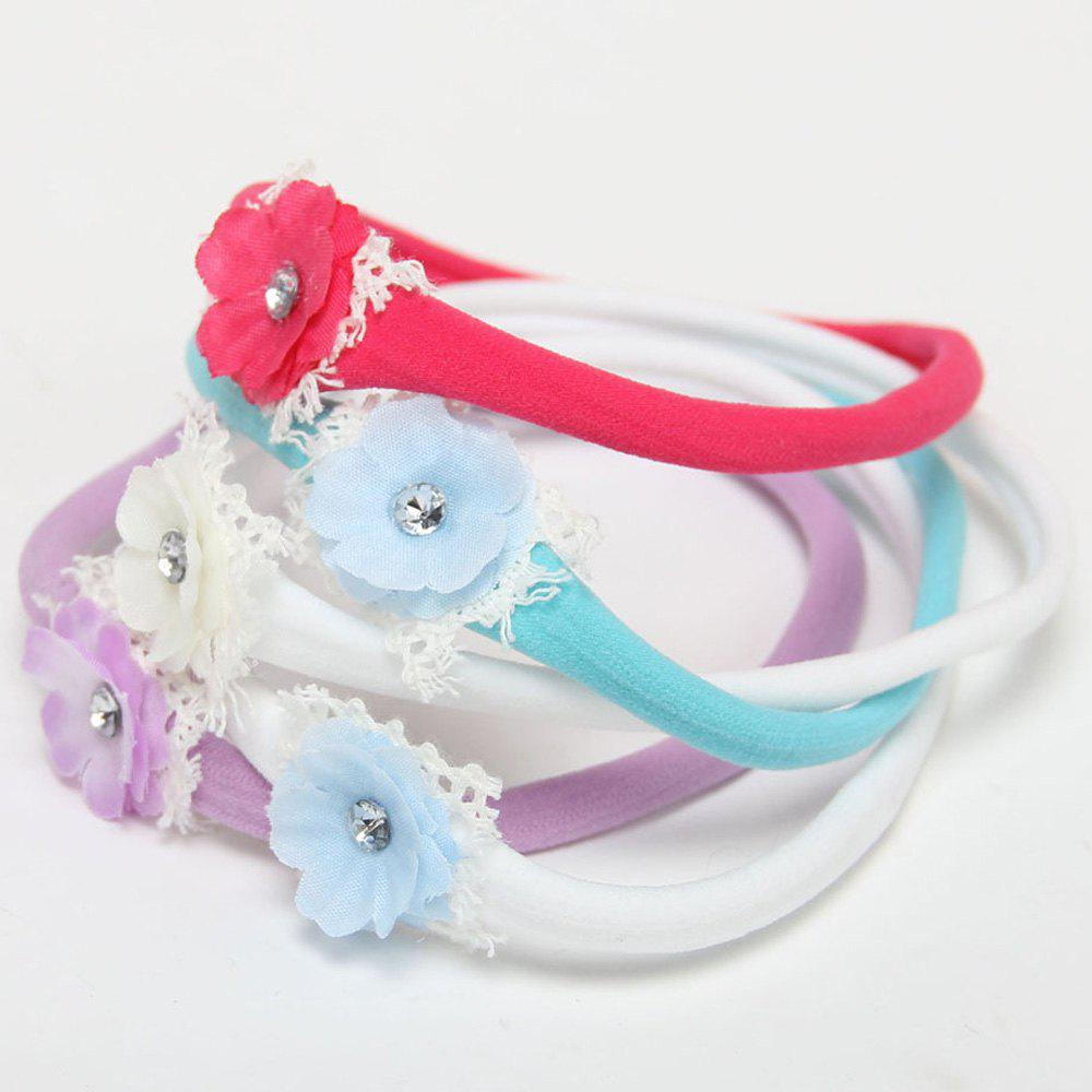 One Set Cute 5 Macarons Colors Flower Lace Baby Headbands - COLORMIX