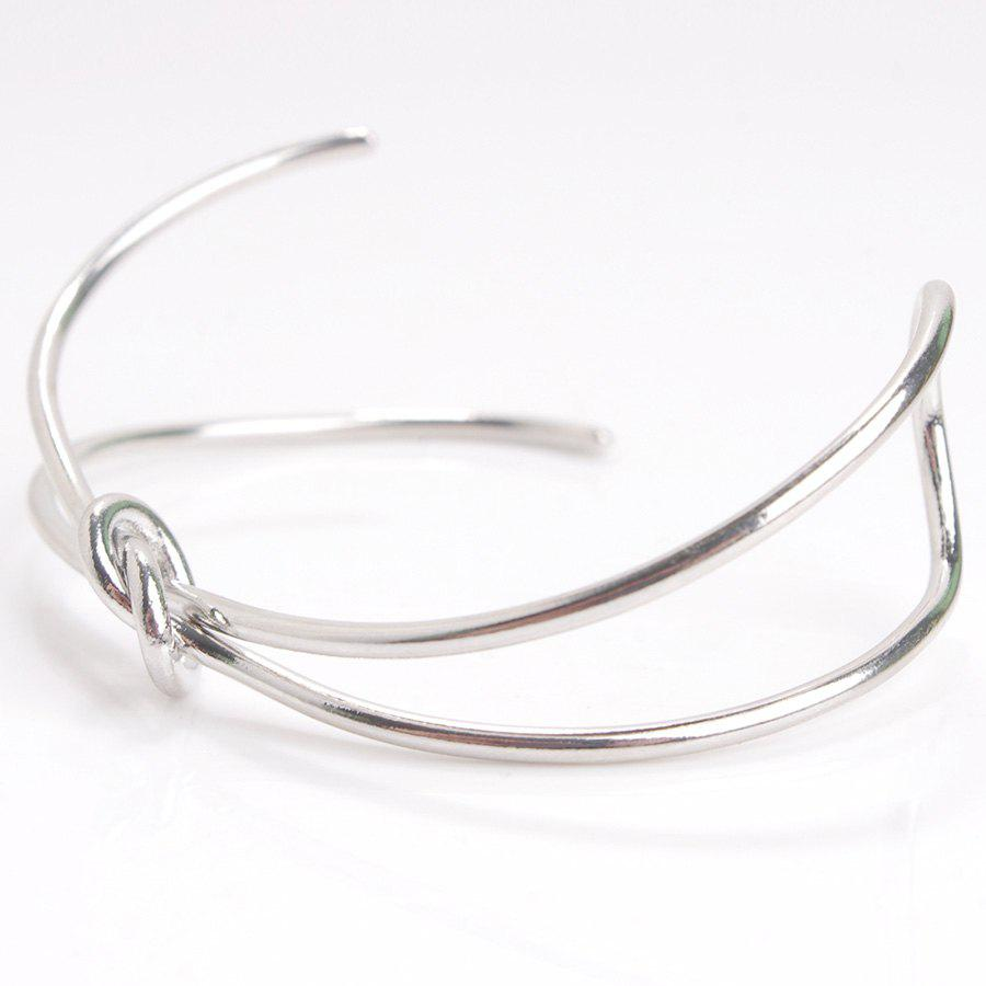 Bowknot Alloy Hollow Out Bracelet - SILVER