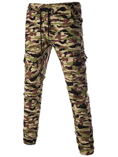 Casual Camouflage Lace Up Men's Pants - ARMY GREEN 2XL