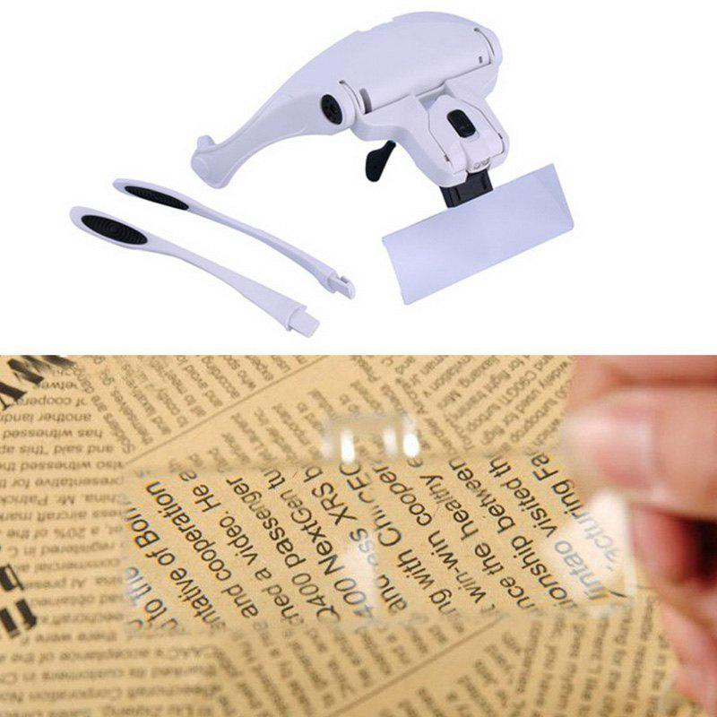 High Quality Eyeglasses Bracket Interchangeable Magnifier with 2 LED For Reading Jeweler Watch Repairing mg16129 c multifunctional magnifier with 5 led lights for repairing