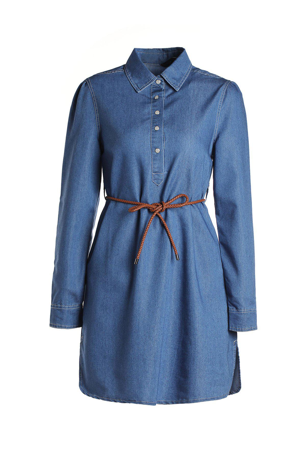 Fashionable Long Sleeve Buttoned Slimming Denim Dress For Women - BLUE S