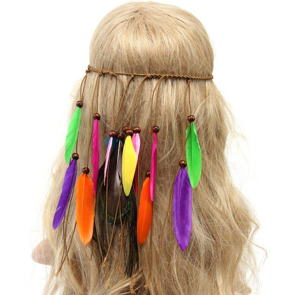 Chic American Indian Style Colorful Feathers Tassel Weaving Headband - COLORFUL
