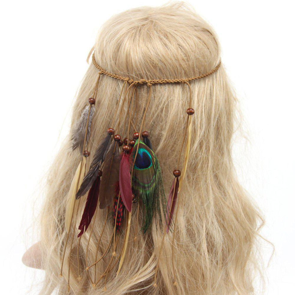 Chic American Indian Tribal Style Dark Color Feathers Tassel Weaving Headband - KHAKI