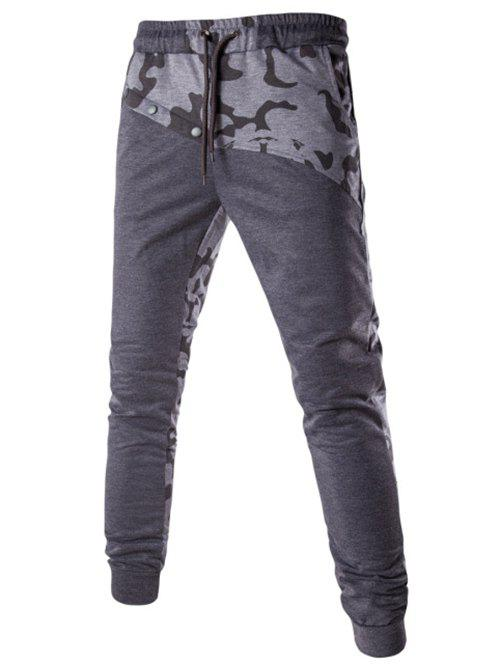 Men's Casual Splicing Lace Up Pants - GRAY M