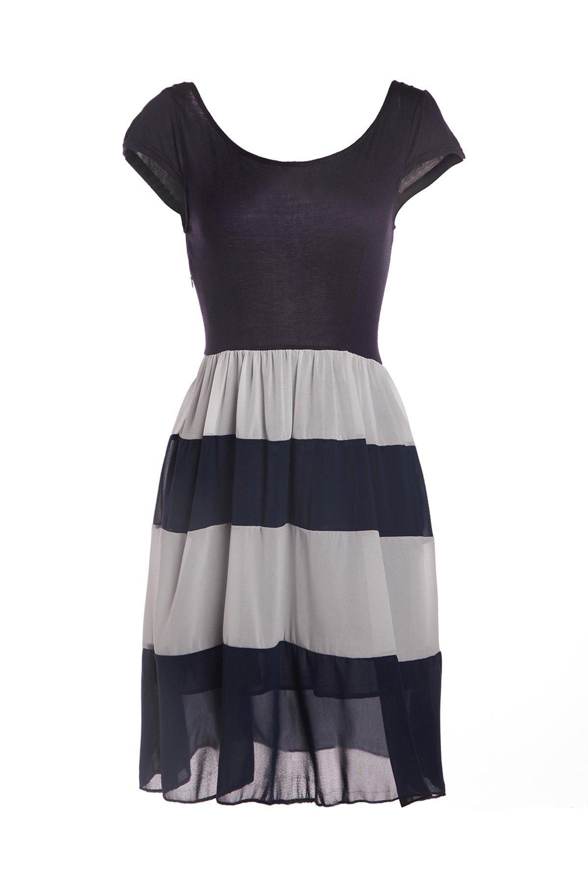 Fashionable Scoop Neck Chiffon Splicing Striped Short Sleeve Dress For WomenWomen<br><br><br>Size: L<br>Color: CADETBLUE