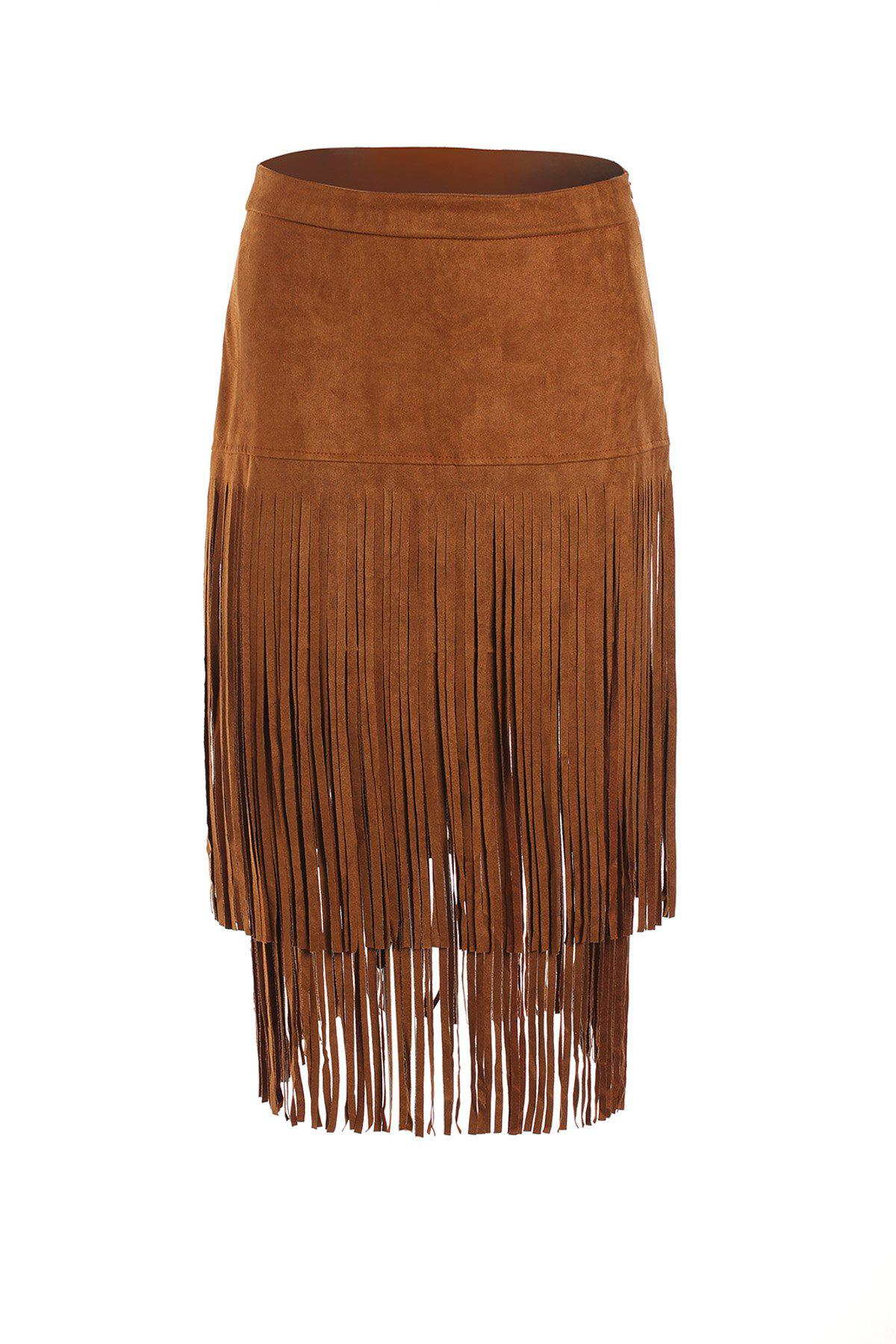 Stylish Women's Multi-Layered Fringe Solid Color Suede Skirt - BROWN M