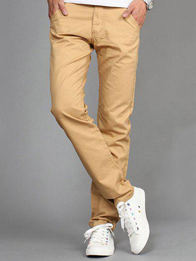 Casual Straight Legs Solid Color Plus Size Men's Pants - KHAKI 30