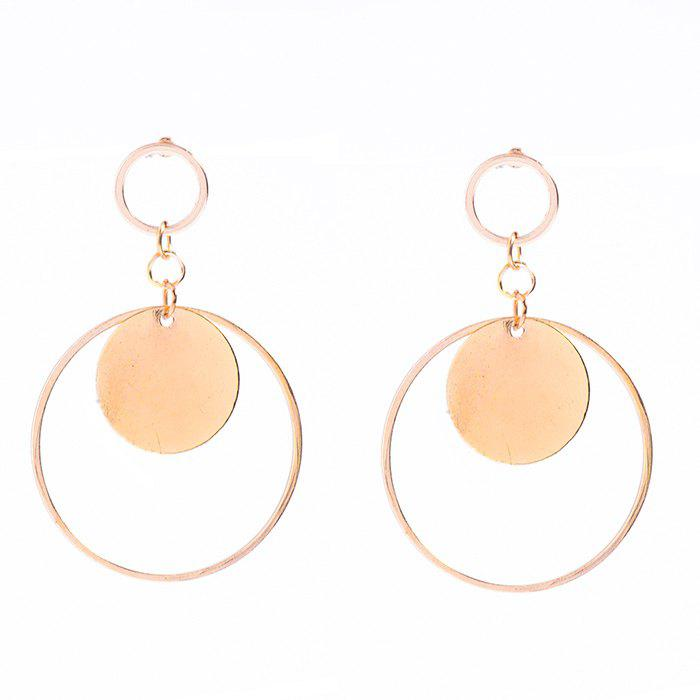 Pair of Round Circle Earrings - GOLDEN