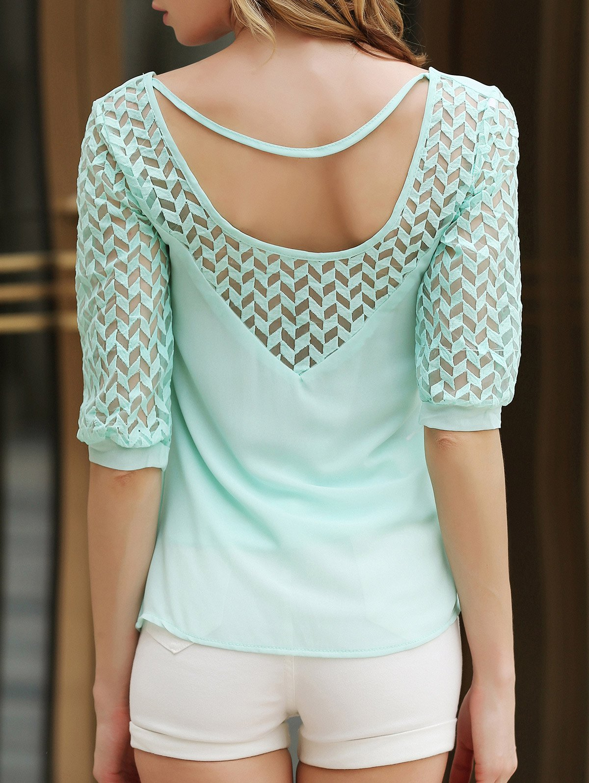 Stylish Half Sleeve Scoop Neck Hollow Out Chiffon Women's Blouse - GREEN XL