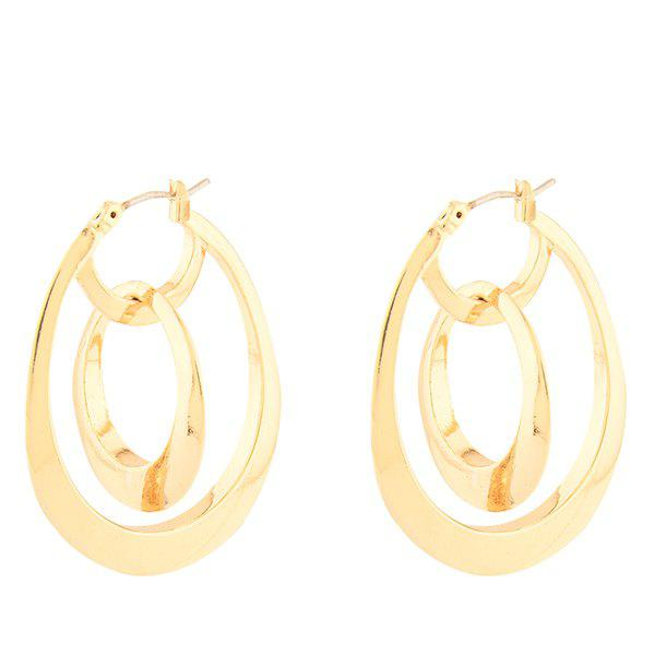 Hollow Out Interlink Water Drop Earrings - GOLDEN